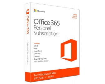 Microsoft Office 365 Personal · PC/Mac + Tablet + Phone · 1 Year Subscription · 1 User