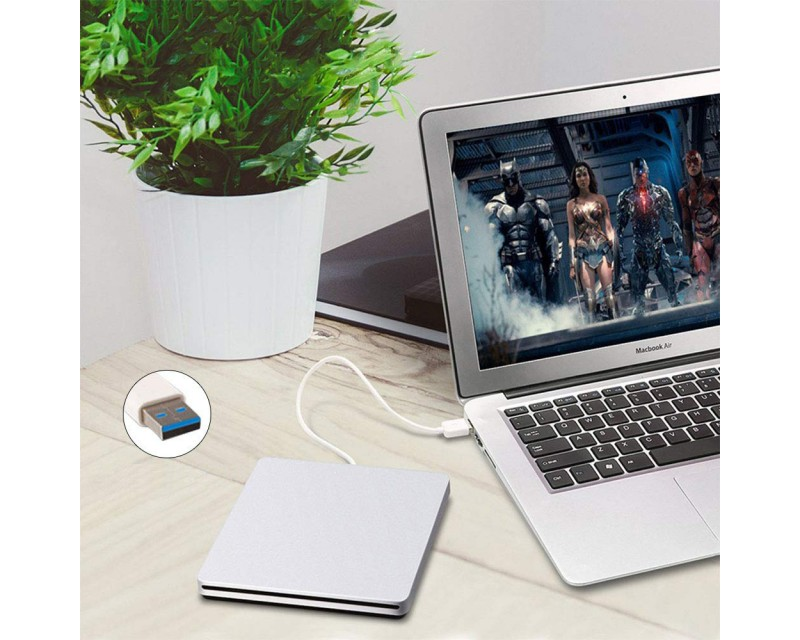 USB Slot-Loading Slim SuperMulti DVD Drive for MacBook / PC